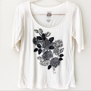 Lucky 3/4 length sleeve floral embellished tee
